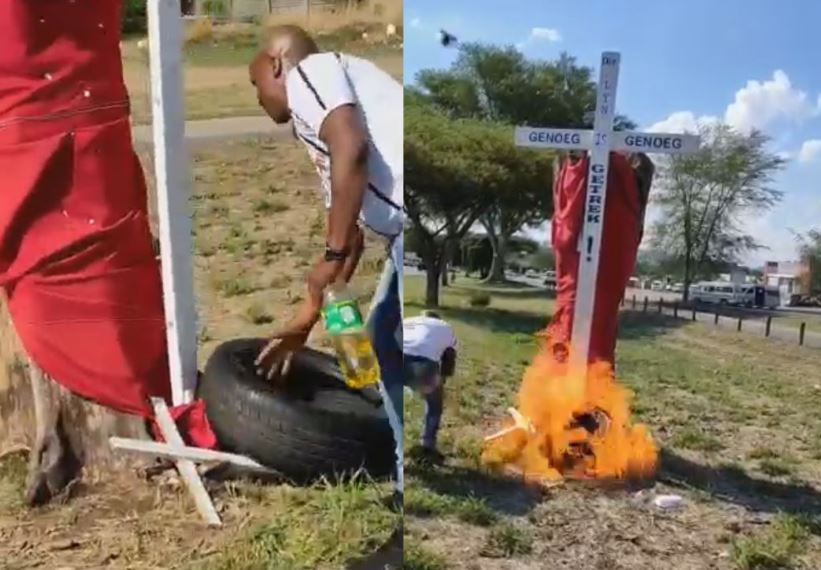 """Cross in memory of slayed farmers torched as """"message to farmers"""" 